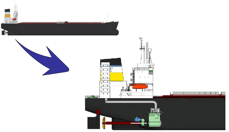 Ship engine exhaust gas scrubbing system